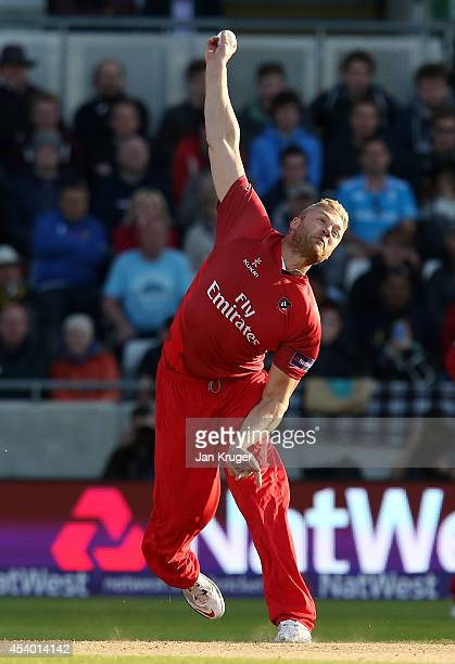 Andrew Flintoff of Lancashire Lightning bowls during the Natwest T20 Blast Final match between Birmingham Bears and Lancashire Lightning at Edgbaston...