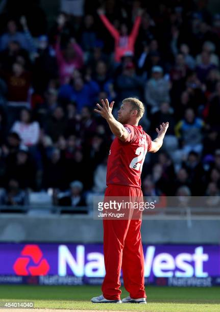 Andrew Flintoff of Lancashire Lightning celebrates the wicket of Ian Bell of Birmingham Bears during the Natwest T20 Blast Final match between...