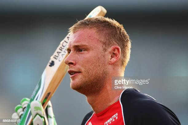 Andrew Flintoff of Lancashire Lightning in action during the Twenty20 Cup match between Derbyshire Phantoms and Lancashire Lightning at the County...