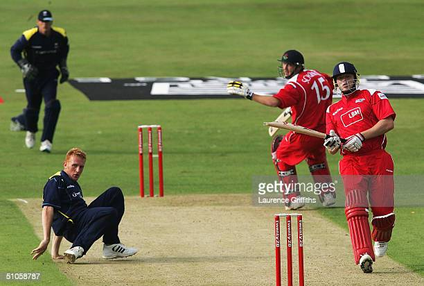 Andrew Flintoff of Lancashire piles on the runs off the bowling of Steve Kirby of Yorkshire during the Twenty20 Cup match between Yorkshire Phoenix...