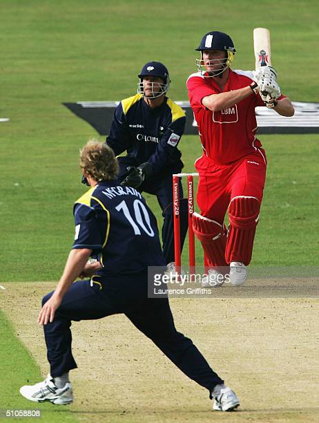 Andrew Flintoff of Lancashire piles on the runs off the bowling of Anthony McGrath of Yorkshire during the Twenty20 Cup match between Yorkshire...