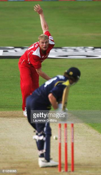 Andrew Flintoff of Lancashire returns to bowling after injury at Ian Harvey of Yorkshire during the Twenty20 Cup match between Yorkshire Phoenix and...