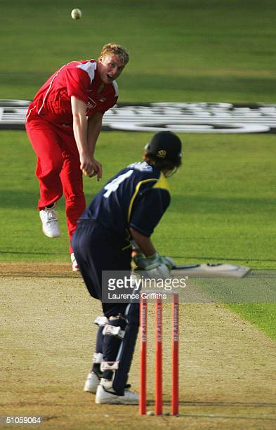 Andrew Flintoff of Lancashire returns to bowling after the injury at Ian Harvey of Yorkshire during the Twenty20 Cup match between Yorkshire Phoenix...