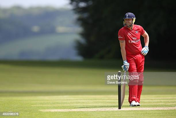 Andrew Flintoff of Lancashire second XI looks on during the Second XI t20 Semi Final match between Lancashire and Leicestershire on June 5 2014 in...