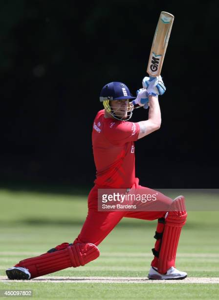 Andrew Flintoff of Lancashire Second XI plays a shot during the Second XI t20 Semi Final match between Lancashire and Leicestershire on June 5 2014...