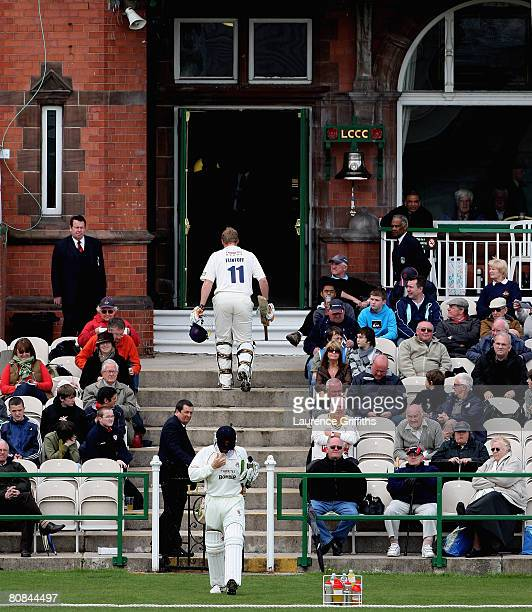 Andrew Flintoff of Lancashire takes the long walk after being dismissed for 0 runs off his first ball by Pete Trego of Somerset during the LV County...