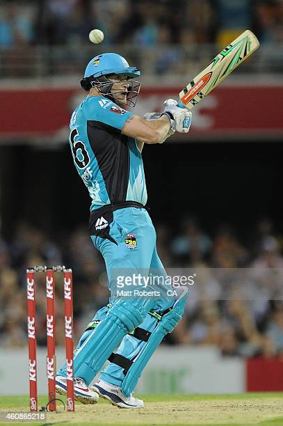 Andrew Flintoff of the Heat bats during the Big Bash League match between the Brisbane Heat and the Melbourne Stars at The Gabba on December 28 2014...
