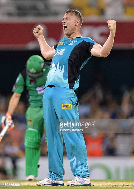 Andrew Flintoff of the Heat celebrates a wicket during the Big Bash League match between the Brisbane Heat and the Melbourne Stars at The Gabba on...