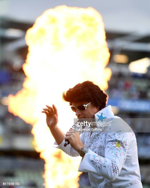 Andrew Flintoff performs as Elvis Presley ahead of the NatWest T20 Blast Final between Birmingham Bears and Notts Outlaws at Edgbaston on September 2...