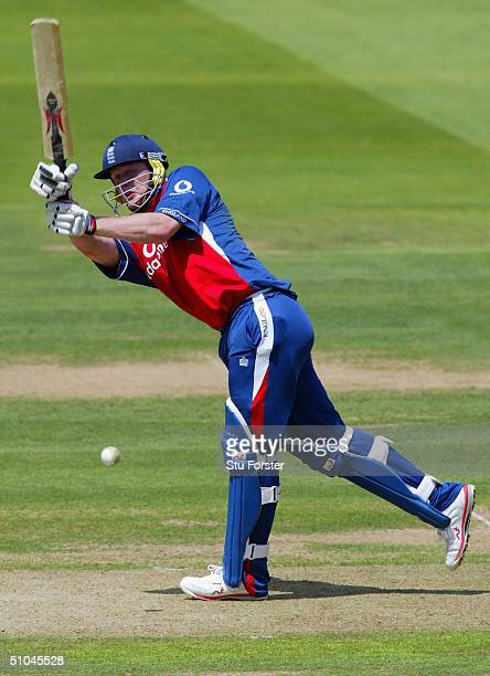 Andrew Flintoff pulls a ball to the boundary during his century in the eighth Natwest Series game between England and West Indies at Lords on July 6...