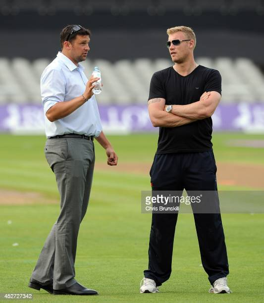 Andrew Flintoff speaks with Steve Harmison in the interval during the Royal London One Day Cup match between Lancashire Lightning and Yorkshire...