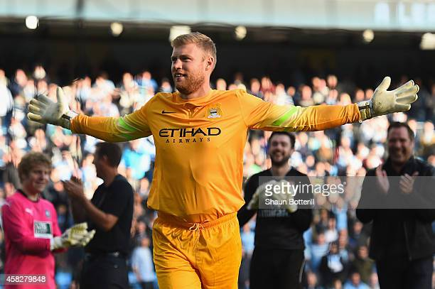 Andrew Flintoff takes part in half time activities during the Barclays Premier League match between Manchester City and Manchester United at Etihad...