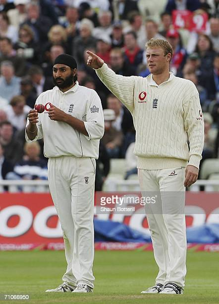 Andrew Flintoff the England captain sets his field for bowler Monty Panesar during the 3rd day of the 2nd Test Match between England and Sri Lanka at...