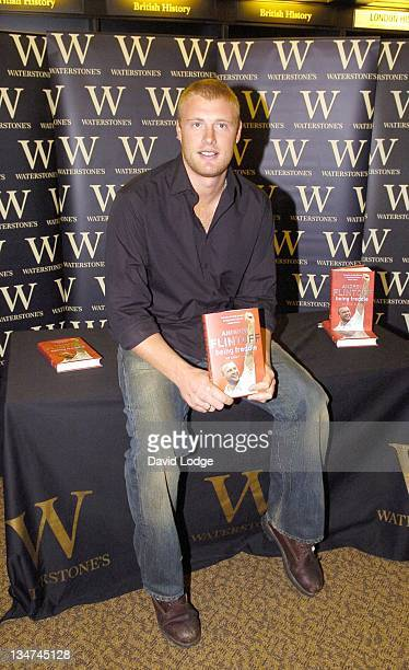 "Andrew Flintoff with his book ""Being Freddie"" during Andrew Flintoff Signs His Book ""Being Freddie"" at Waterstone's in London - October 27, 2005 at..."