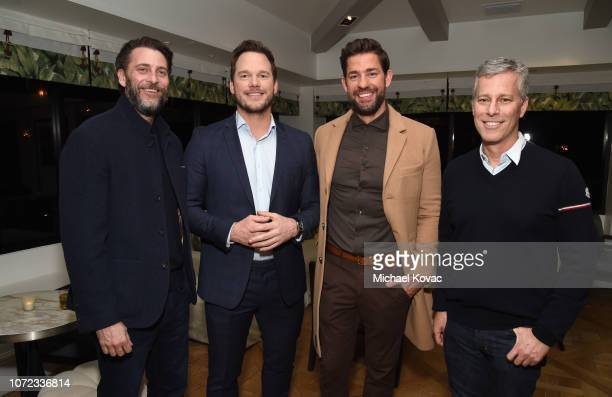 Andrew Form Chris Pratt John Krasinski and Brad Fuller attend the reception for a special screening of 'A Quiet Place' hosted by Chris Pratt at The...