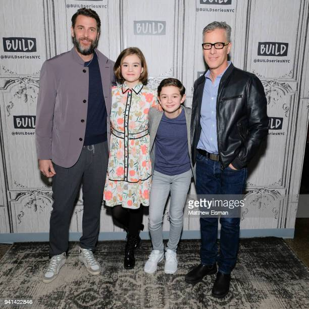 Andrew Form Millicent Simmonds Noah Jupe and Brad Fuller visit Build Studio to discuss the film A Quiet Place on April 3 2018 in New York City