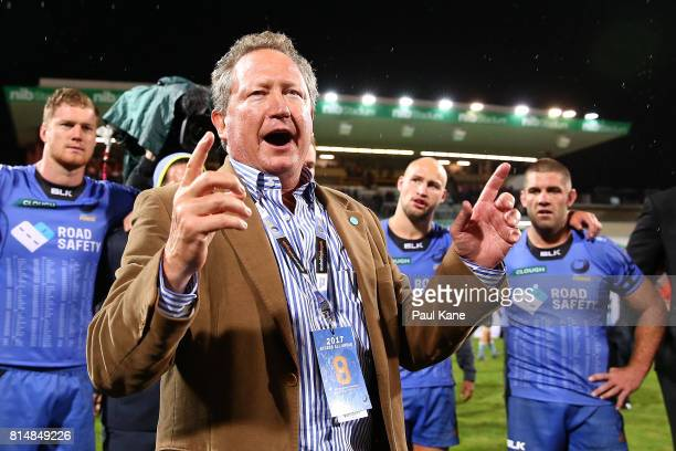 Andrew Forrest addresses the Force players and coaches after the round 17 Super Rugby match between the Force and the Waratahs at nib Stadium on July...