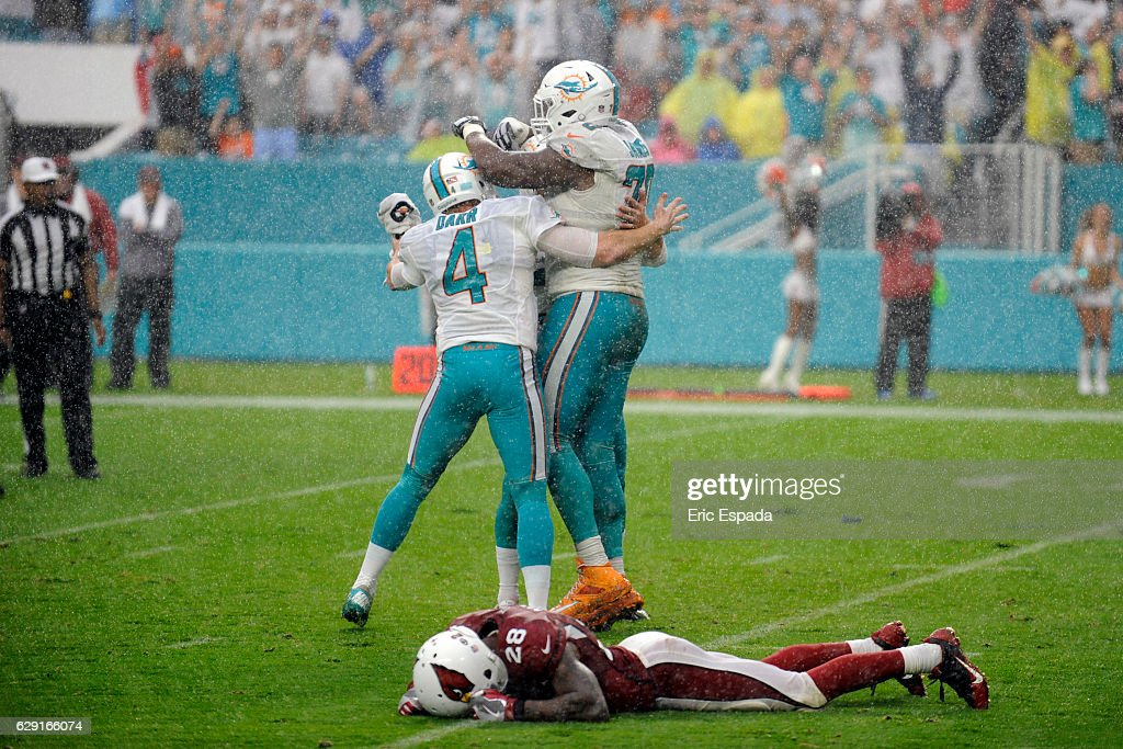 Andrew Franks #3 of the Miami Dolphins celebrates with teammates Matt Darr #4 and Ja'Wuan James after kicking the game winning field goal against the Arizona Cardinals at Hard Rock Stadium on December 11, 2016 in Miami Gardens, Florida.