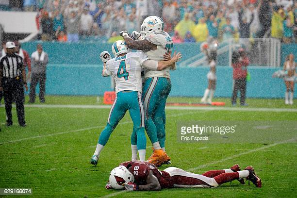 Andrew Franks of the Miami Dolphins celebrates with teammates Matt Darr and Ja'Wuan James after kicking the game winning field goal against the...