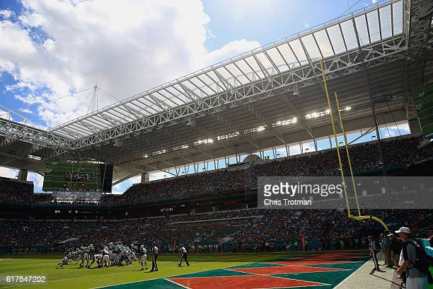 Andrew Franks of the Miami Dolphins kicks a field goal against the Buffalo Bills at Hard Rock Stadium on October 23 2016 in Miami Gardens Florida