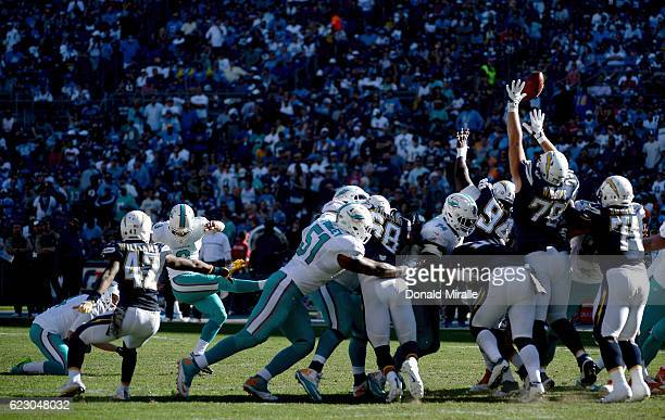 Andrew Franks of the Miami Dolphins kicks a field goal against the San Diego Chargers during the first half of a game at Qualcomm Stadium on November...