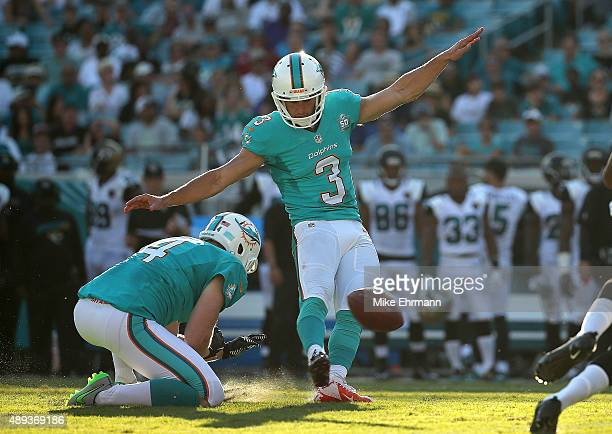Andrew Franks of the Miami Dolphins kicks a field goal during a game against the Jacksonville Jaguars at EverBank Field on September 20 2015 in...