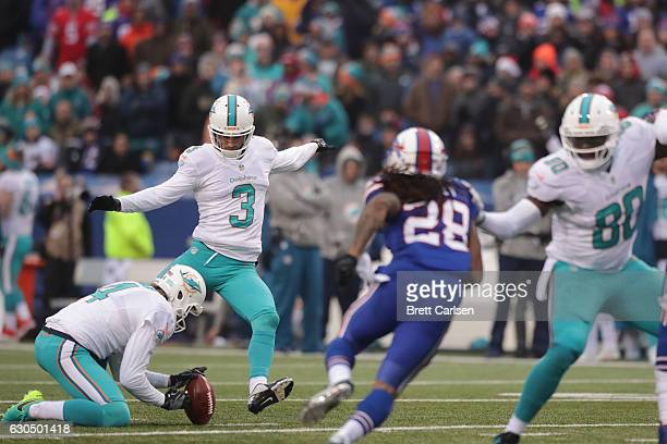 Andrew Franks of the Miami Dolphins misses a field goal against the Buffalo Bills during the second half at New Era Stadium on December 24 2016 in...