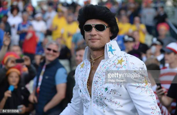 Andrew Freddie Flintoff performs as Elvis Presley during an X factor style sing off before the Natwest T20 Blast Final match between Birmingham and...