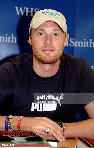 Andrew Freddie Flintoff signs copies of his autobiography 'Ashes To Ashes' at WH Smith Trafford Centre on September 29 2009 in Manchester England