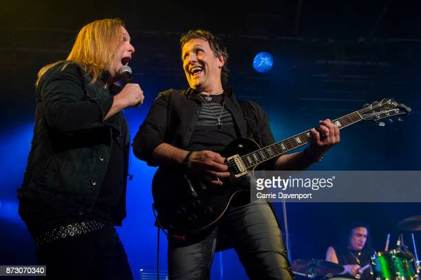 Andrew Freeman and Vivian Campbell of Last in Line perform onstage at the NI Music Awards at Mandela Hall on November 11 2017 in Belfast Northern...