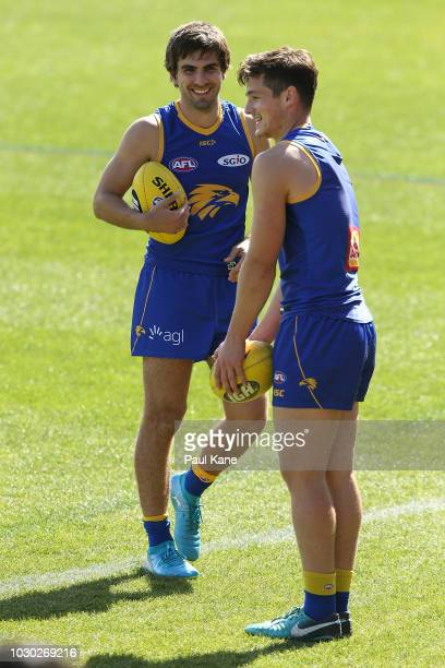 Andrew Gaff and Hamish Brayshaw share a moment during a West Coast Eagles AFL training session at Subiaco Oval on September 10 2018 in Perth Australia