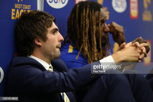 Andrew Gaff and Nic Naitanui of the Eagles look on in the change rooms following the AFL Preliminary Final match between the West Coast Eagles and...
