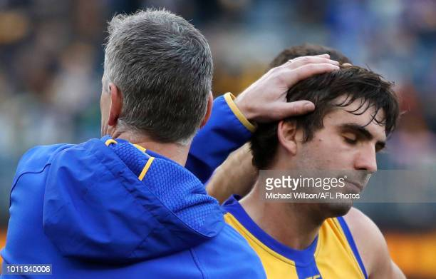 Andrew Gaff of the Eagles and Adam Simpson Senior Coach of the Eagles are seen after the 2018 AFL round 20 match between the West Coast Eagles and...