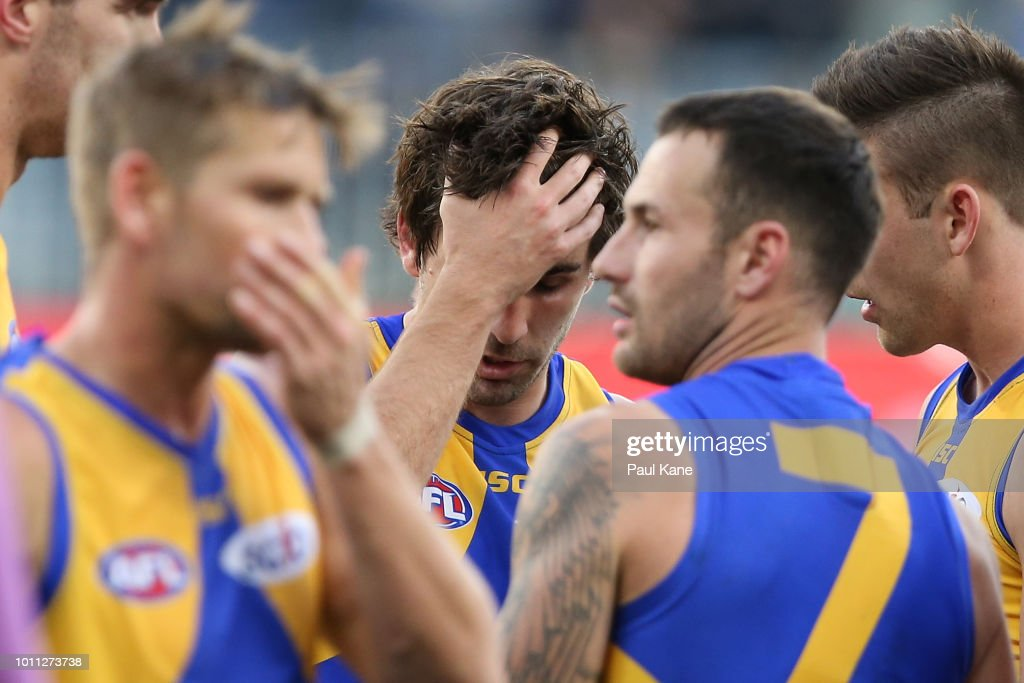 Andrew Gaff of the Eagles looks dejected at the three quarter time break during the round 20 AFL match between the West Coast Eagles and the Fremantle Dockers at Optus Stadium on August 5, 2018 in Perth, Australia.