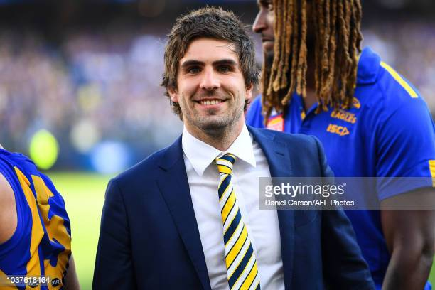 Andrew Gaff of the Eagles looks on after the win during the 2018 AFL Second Preliminary Final match between the West Coast Eagles and the Melbourne...