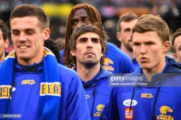 Andrew Gaff of the Eagles looks on after the win during the 2018 Toyota AFL Grand Final match between the West Coast Eagles and the Collingwood...