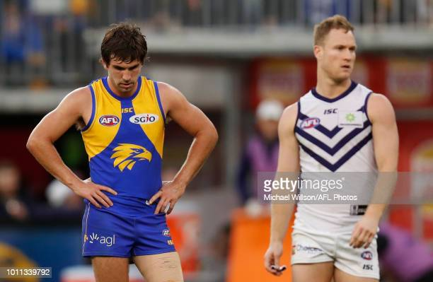 Andrew Gaff of the Eagles looks on during the 2018 AFL round 20 match between the West Coast Eagles and the Fremantle Dockers at Optus Stadium on...