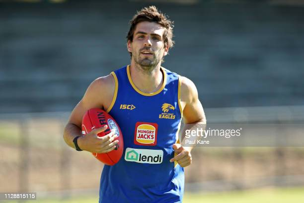 Andrew Gaff of the Eagles looks on while jogging laps during a West Coast Eagles AFL training session at Lathlain Park on February 11 2019 in Perth...