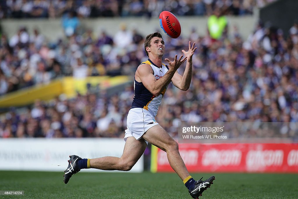 Andrew Gaff of the Eagles marks the ball during the round 20 AFL match between the Fremantle Dockers and the West Coast Eagles at Domain Stadium on August 16, 2015 in Perth, Australia.