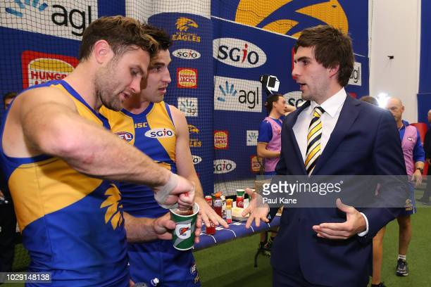 Andrew Gaff of the Eagles talks with Mark Hutchings and Elliot Yeo of the Eagles after the AFL Second Qualifying Final match between the West Coast...