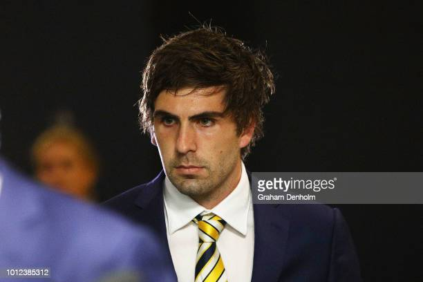 Andrew Gaff of the West Coast Eagles arrives ahead of the AFL Tribunal hearing into his striking offence at AFL House on August 7 2018 in Melbourne...