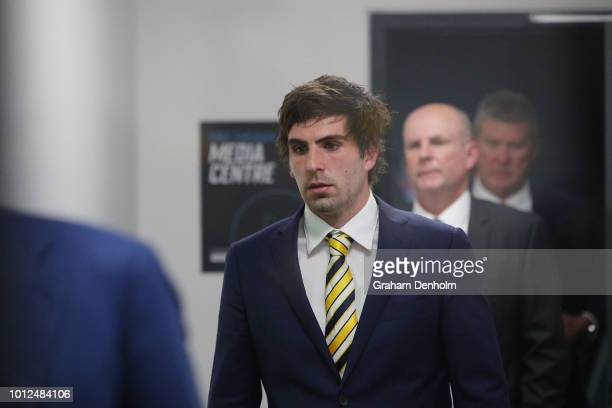 Andrew Gaff of the West Coast Eagles is seen at the AFL Tribunal hearing into his striking offence at AFL House on August 7 2018 in Melbourne...