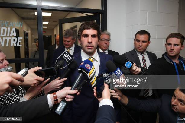 Andrew Gaff of the West Coast Eagles talks to the media following the AFL Tribunal hearing into his striking offence at AFL House on August 7 2018 in...