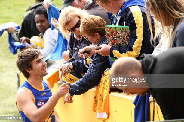 Andrew Gaff signs autographs following a West Coast Eagles AFL training session at Subiaco Oval on September 10 2018 in Perth Australia