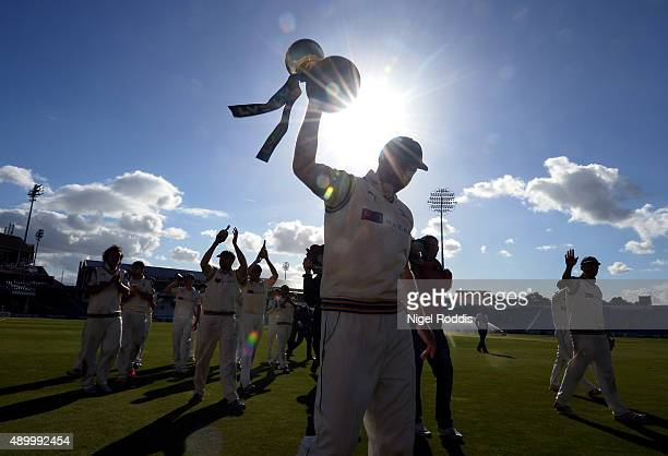 Andrew Gale captain of Yorkshire leads his players around the ground to salute the fans after their LV County Championship match between Yorkshire...