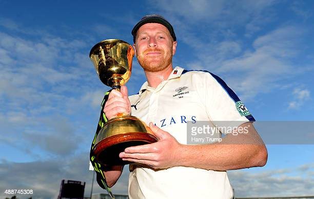 Andrew Gale Captain of Yorkshire poses with the LV County Championship Trophy after victory over Hampshire in the LV County Championship match...