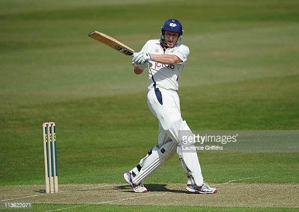 Andrew Gale of Yorkshire hits out during the LV County Championship match between Nottinghamshire and Yorkshire at Trent Bridge on May 4 2011 in...