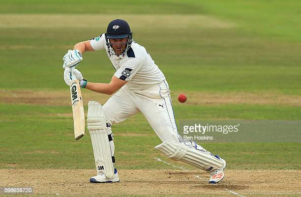 Andrew Gale of Yorkshire hits out during the Specsavers County Championship Division One match between Hampshire and Yorkshire at Ageas Bowl on...
