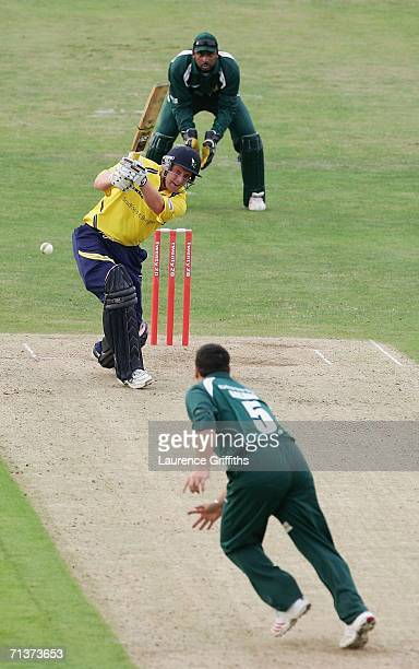 Andrew Gale of Yorkshire smashes the ball to the boundary off the bowling of Mark Ealham of Nottinghamshire during the Tewnty20 Cup Match between...