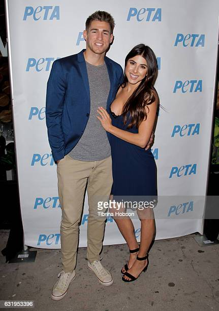 Andrew Gardner and Daniella Monet attend a special panel and discussion ''How To Make It In Vegan Fashion' at PETA Empathy Center on January 17 2017...